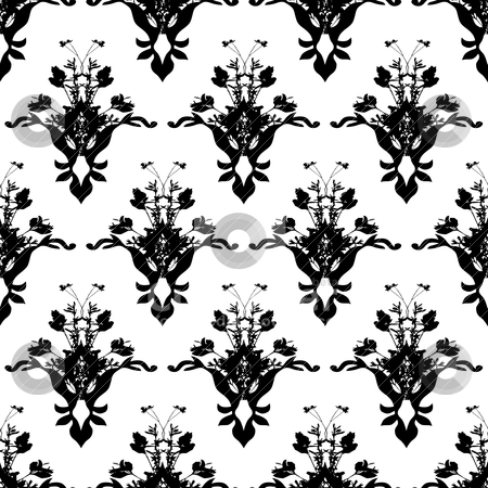 Floarl black wall stock vector clipart, Black and white floral background wallpaper with repeat design by Michael Travers
