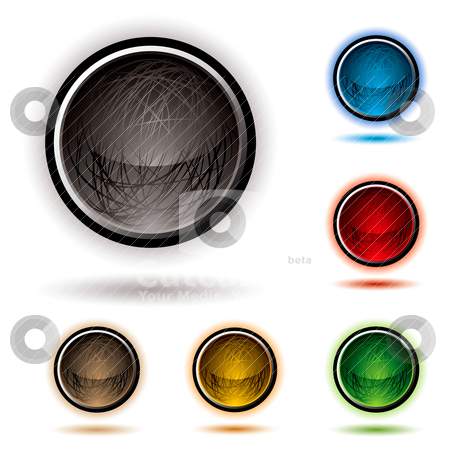 Scribble button glow stock vector clipart, Bright glowing buttons with scribbles and drop shadow by Michael Travers