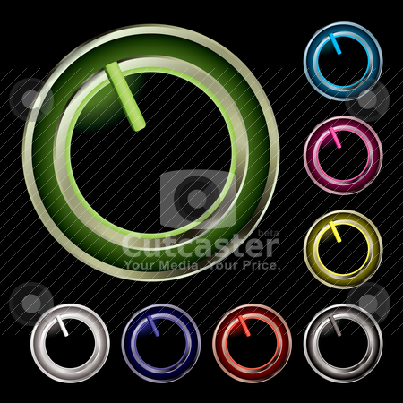 Twist switch variation stock vector clipart, Collection of eight twist buttons with neon glow by Michael Travers