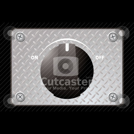 Switch metal panel stock vector clipart, Black plastic switch with metal plate with screws by Michael Travers