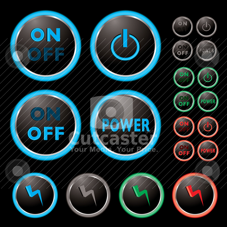 Power buttons stock vector clipart, Power buttons with neon surround and colour variations by Michael Travers