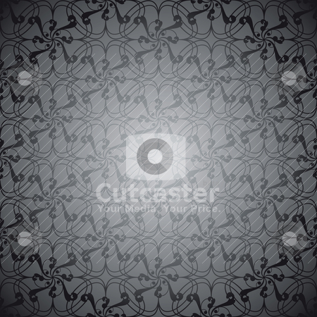 Black swirl linear stock vector clipart, Black and silver swirling repeat design with no joins by Michael Travers