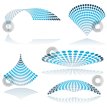 Circle mesh twist stock vector clipart, Collection of five mesh shapes in blue with drop shadow by Michael Travers