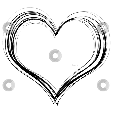 Scribble heart stock vector clipart, Love heart in black pencil scribble with a white background by Michael Travers
