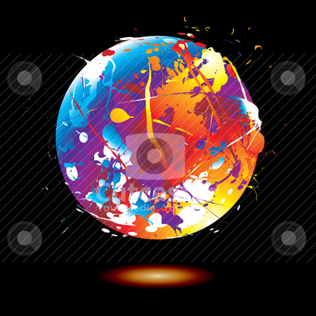 Paint splat globe stock vector clipart, Round ink splat with a rainbow effect and drop shadow on a black background by Michael Travers