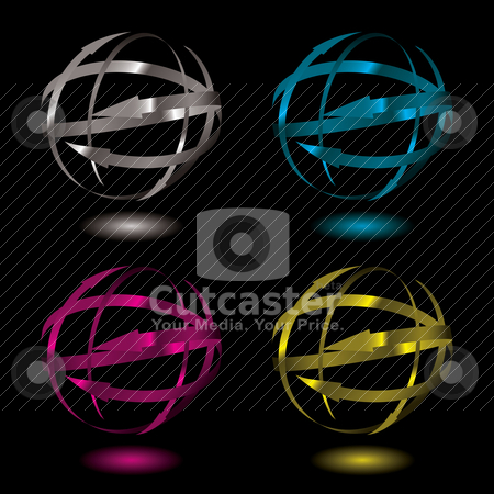 Arrow metal ball stock vector clipart, Collection of four metal arrow balls in varius color variations by Michael Travers