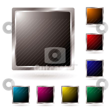 Silver bevel icon stock vector clipart, Collection of silver edged icons with colored centers and shadow by Michael Travers