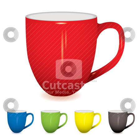 Coffee cup variation stock vector clipart, Coffee cup with shadow and five colour variations by Michael Travers