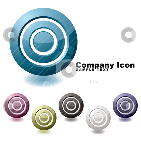 Target variation icon stock vector clipart, Six company target icons with shadow and reflection by Michael Travers