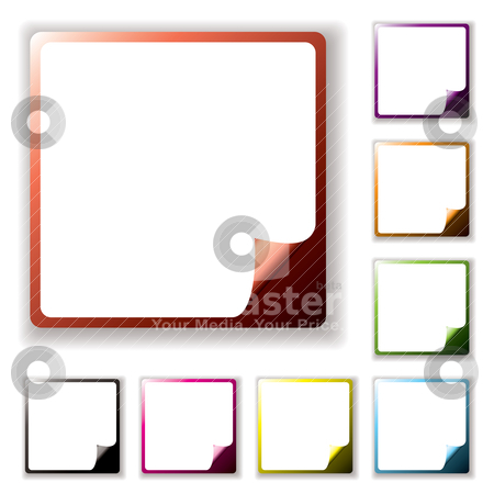 Button page peel stock vector clipart, Collection of blank white label icons with page peel and drop shadow by Michael Travers