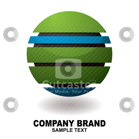 Icon droid stock vector clipart, Simple three dimension business icon in green and blue by Michael Travers