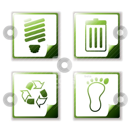 Quad eco stock vector clipart, Simple clean eco icons with page curl and offset shadow by Michael Travers