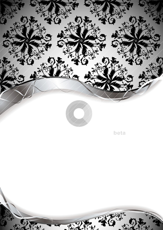Wallpaper silver vine stock vector clipart, Wallpaper background with silver edge and white copy space by Michael Travers