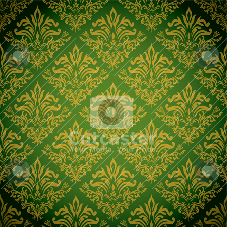 Golden green repeat stock vector clipart, Green and gold background with a seamless repeat design by Michael Travers