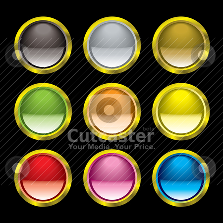 Gel button gold rim stock vector clipart, Nine gel filled buttons with gold rim and light reflection by Michael Travers