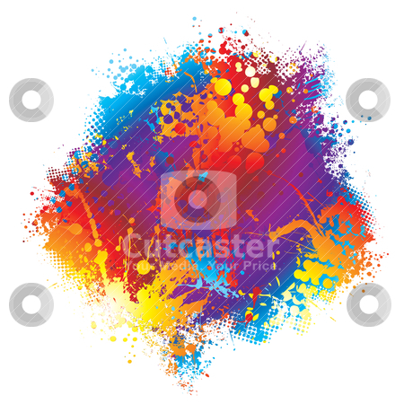 Ink rainbow halftone, rainbow paint splatter,  stock vector clipart, Brightly coloured rainbow ink spalt design with halftone dot by Michael Travers