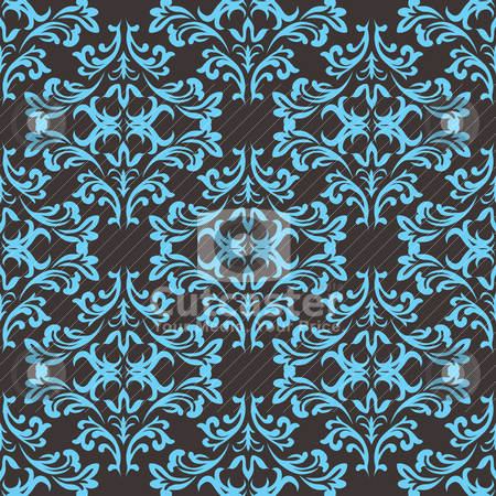 Gothic repeat green stock vector clipart, Blue and grey seamless repeating design with a floral theme by Michael Travers