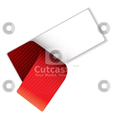 Label peel stock vector clipart, White label with red cover peel and drop shadow by Michael Travers