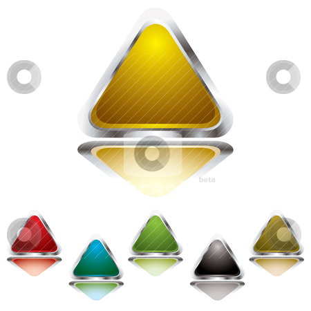 Triangle gel stock vector clipart, Collection of six gel filled triangle icons with silver bevel by Michael Travers