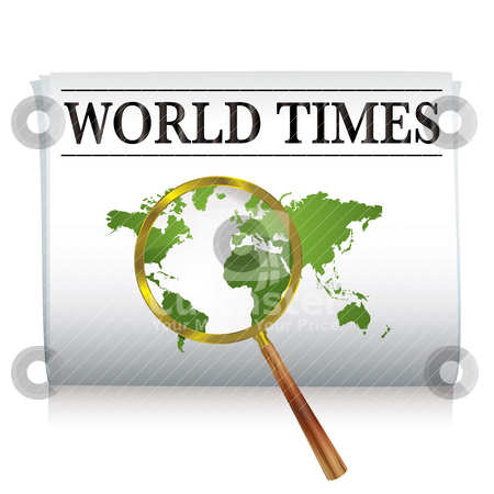 Newspaper world stock vector clipart, Newspaper with a map of the world and a magnifying glass by Michael Travers