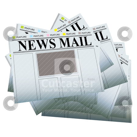 Newspaper stack blank stock vector clipart, Pile of newspapers with blank areas to add your own text and images by Michael Travers