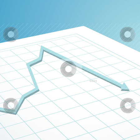 Business graph arrow down stock vector clipart, Business graph showing the crash in the world banks by Michael Travers