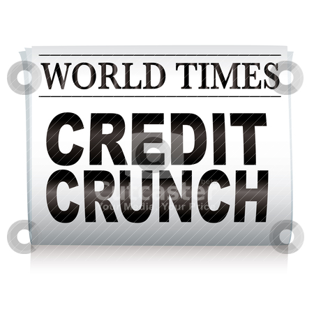Newspaper credit crunch stock vector clipart, White newspaper with credit crunch headlines and shadow by Michael Travers