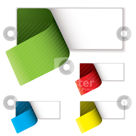 Label peel variation stock vector clipart, Colored labels peeled to reveal an blank area to add your text by Michael Travers
