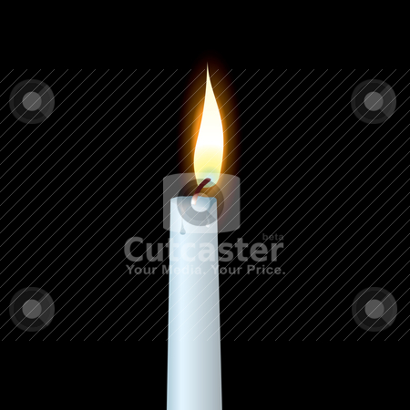 White candle stock vector clipart, White candle with wax dribble and buring flame by Michael Travers