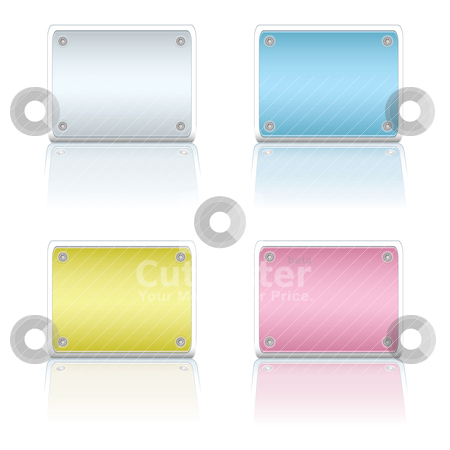 Metal plate variation stock vector clipart, Four colorful metal blank sign with color coded reflections by Michael Travers