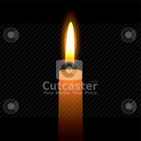 Bright candle stock vector clipart, Single candle with a bright burning flame and hot wax by Michael Travers