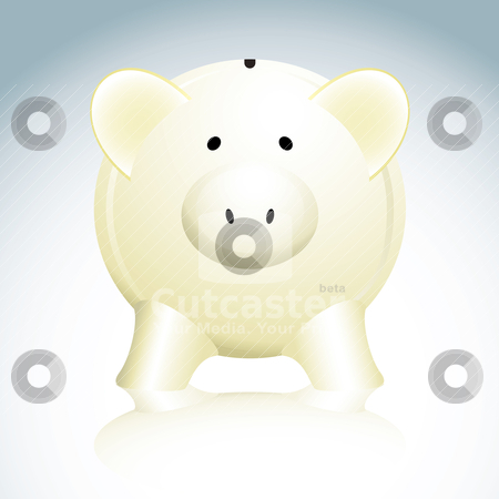 Piggy bank stock vector clipart, Illustrated savings piggy bank in yellow with a reflection by Michael Travers