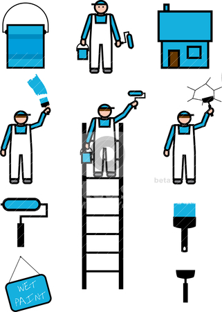 DIY Painters and decoraters stock vector clipart, Icons of workers and their tools painting and repairing a home. Vector Illustration by Gary Cookson