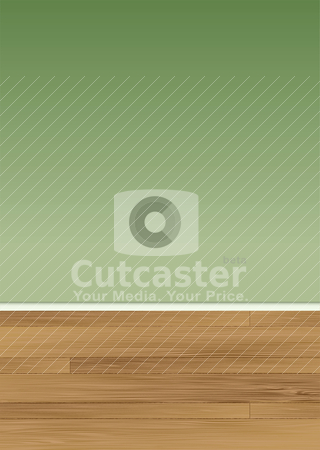 Wood floor wall stock vector clipart, View of a wooden floor with a blank green wall and skirting board by Michael Travers