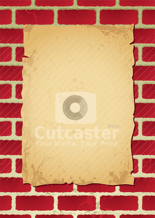 Brickwall parchment stock vector clipart, Paper poster on parchment attached to a brick wall with shadow by Michael Travers