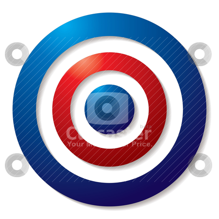 Tricolor target stock vector clipart, Tricolor target in red white and blue with shadow effect by Michael Travers