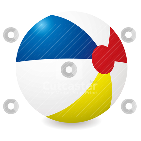Beach ball stock vector clipart, Illustrated beach ball with different colored sections and shadow by Michael Travers