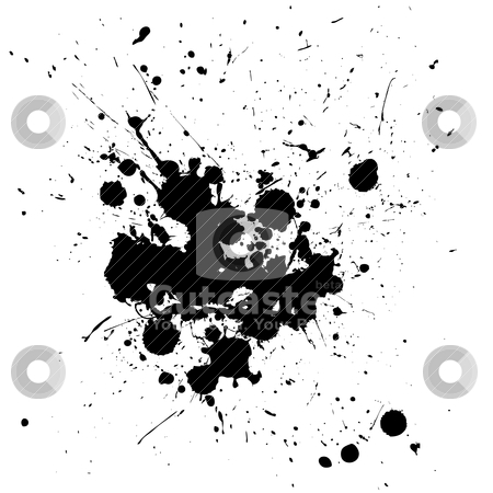 Spalt center stock vector clipart, Black ink splat isolated on a white background by Michael Travers