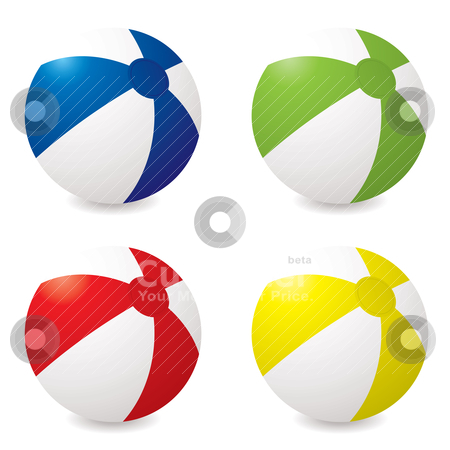 Beach ball variation stock vector clipart, Collection of four different coloured beach balls with drop shadow by Michael Travers