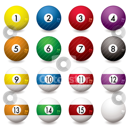 Pool balls stock vector clipart, Collection of pool balls numbered from one to fifteen with shadow by Michael Travers