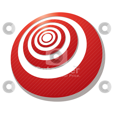 Target angle stock vector clipart, Red target with a shadow drawn in perspective at an angle by Michael Travers