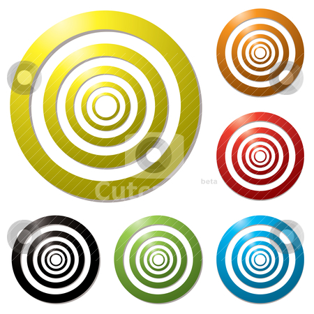 Target variation stock vector clipart, Collection of six colourful targets with drop shadow by Michael Travers