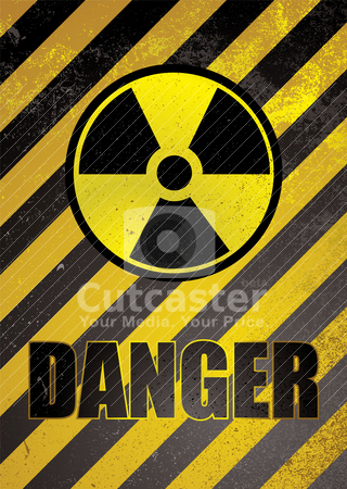 Danger poster stock vector clipart, Warning poster in yellow and black stripes with nuclear image by Michael Travers