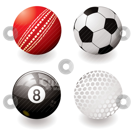 Sports balls stock vector clipart, Collection of four sports balls with shadow and gradient by Michael Travers