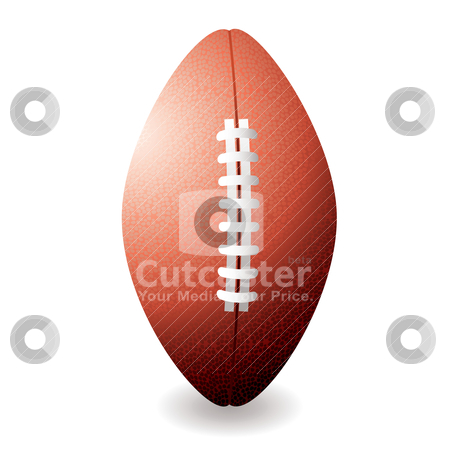 American football stock vector clipart, Oval shaped American football or rugby ball with shadow by Michael Travers