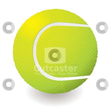 Tennis ball stock vector clipart, Illustration of a light green tennis ball with shadow by Michael Travers