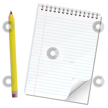 Note paper pencil stock vector clipart, Pencil and paper with shadow and ring bind and page curl by Michael Travers