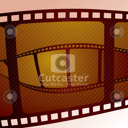 Film overlap stock vector clipart, Piece of film swirling on top of its self with a red hue by Michael Travers