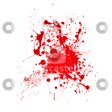 Bloody splat stock vector clipart, Inky blood splat with a red abstract shape by Michael Travers