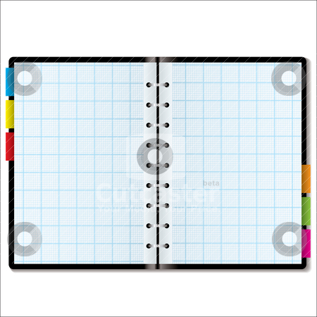 Organizer graph stock vector clipart, Illustrated graph paper in a note book with colored tabs by Michael Travers